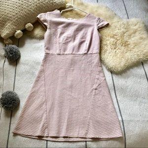 A Line Striped Cap Sleeve Mini Dress Seersucker